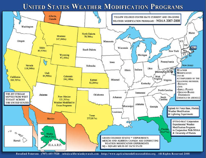 USA weather modification map