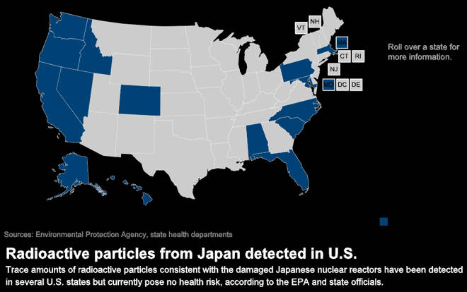Map of where nuclear particles are found in US